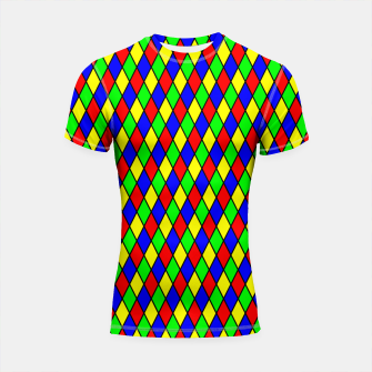 Thumbnail image of Bright Primary Color Harlequin Windowpane Diamond Pattern Shortsleeve Rashguard, Live Heroes