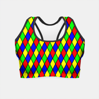 Thumbnail image of Bright Primary Color Harlequin Windowpane Diamond Pattern Crop Top, Live Heroes