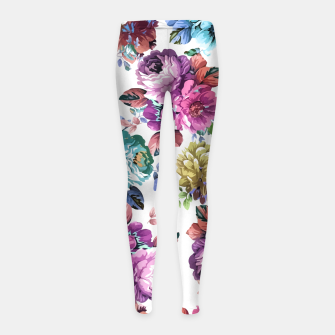 Thumbnail image of Fluorescent Roses Girl's Leggings, Live Heroes