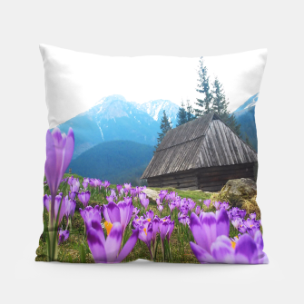 Thumbnail image of Mountain Flower View Pillow, Live Heroes