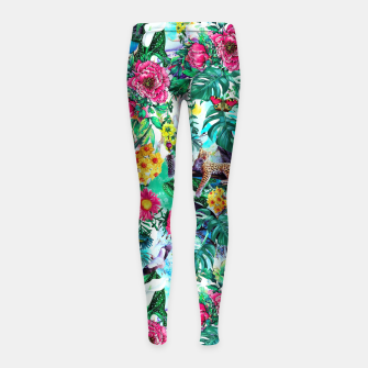 Miniatur Tropical Jungle II Girl's Leggings, Live Heroes