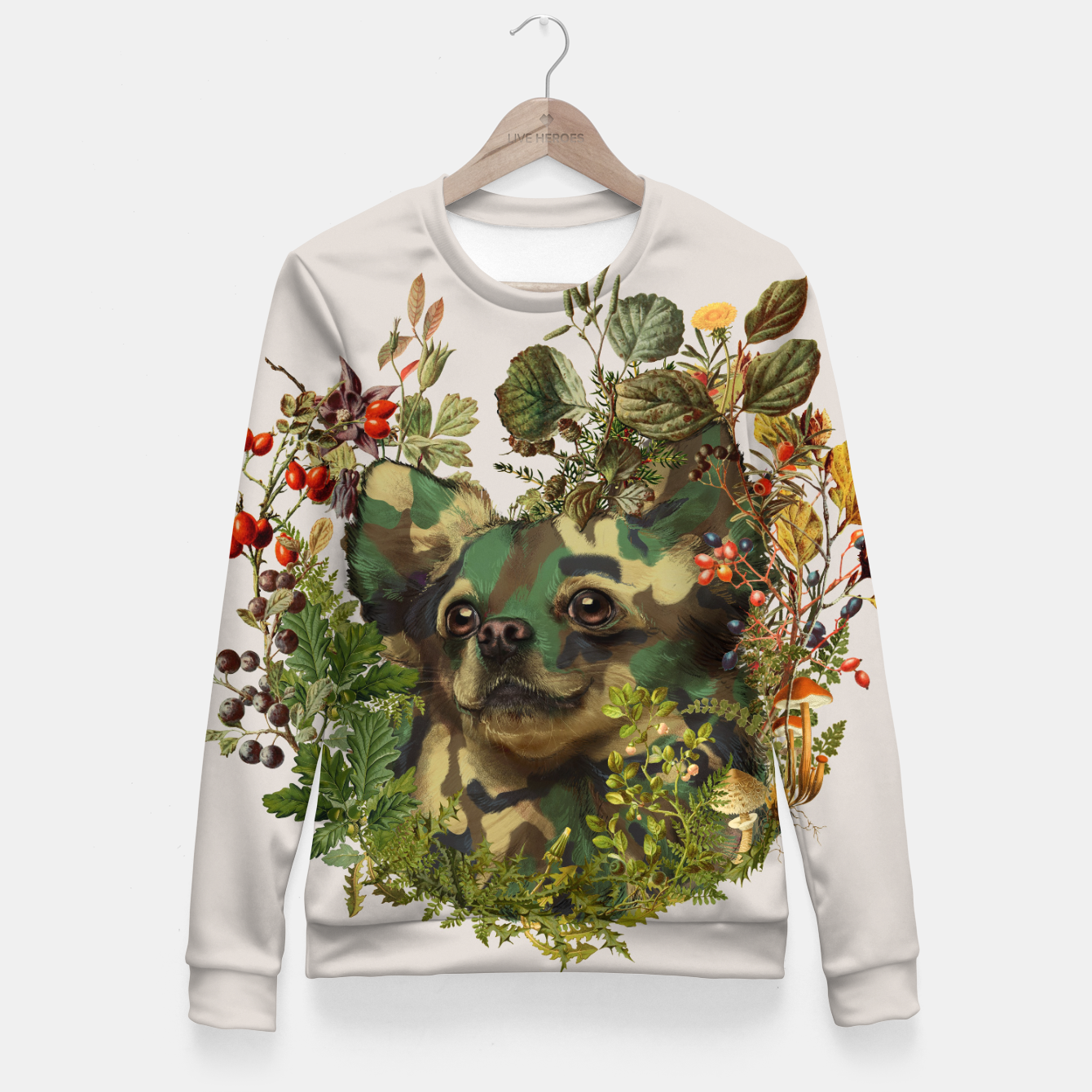 Image of Camo Chihuahua Forest Adventure Fitted Waist Sweater - Live Heroes