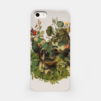 Miniatur Camo Chihuahua Forest Adventure iPhone Case, Live Heroes