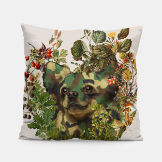Miniatur Camo Chihuahua Forest Adventure Pillow, Live Heroes