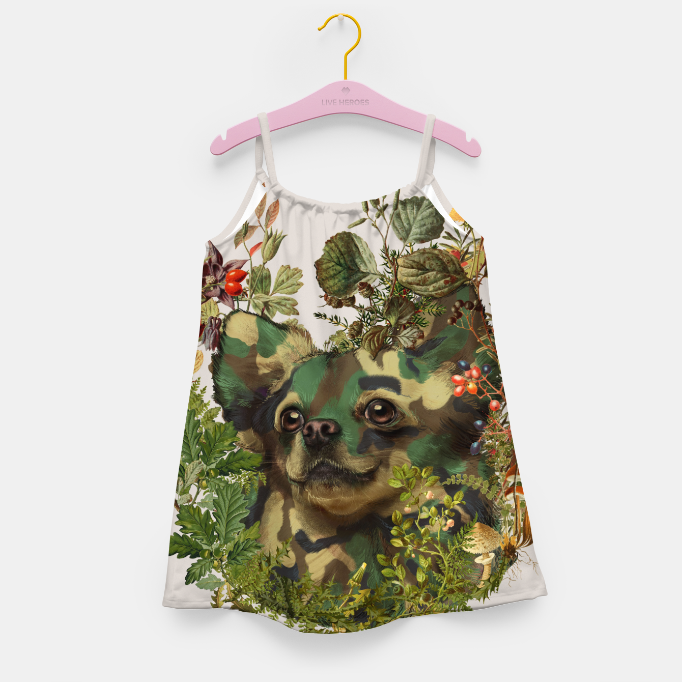 Image of Camo Chihuahua Forest Adventure Girl's Dress - Live Heroes