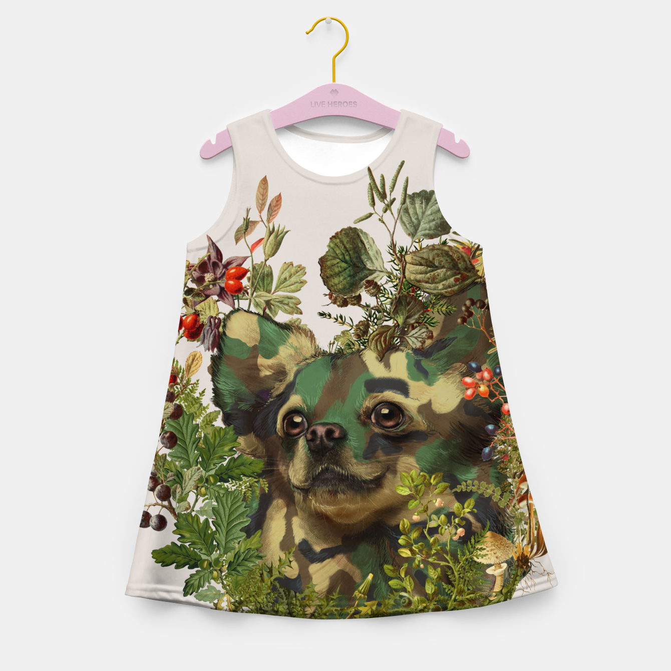Image of Camo Chihuahua Forest Adventure Girl's Summer Dress - Live Heroes