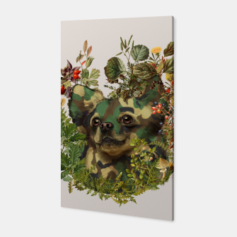 Camo Chihuahua Forest Adventure Canvas Bild der Miniatur