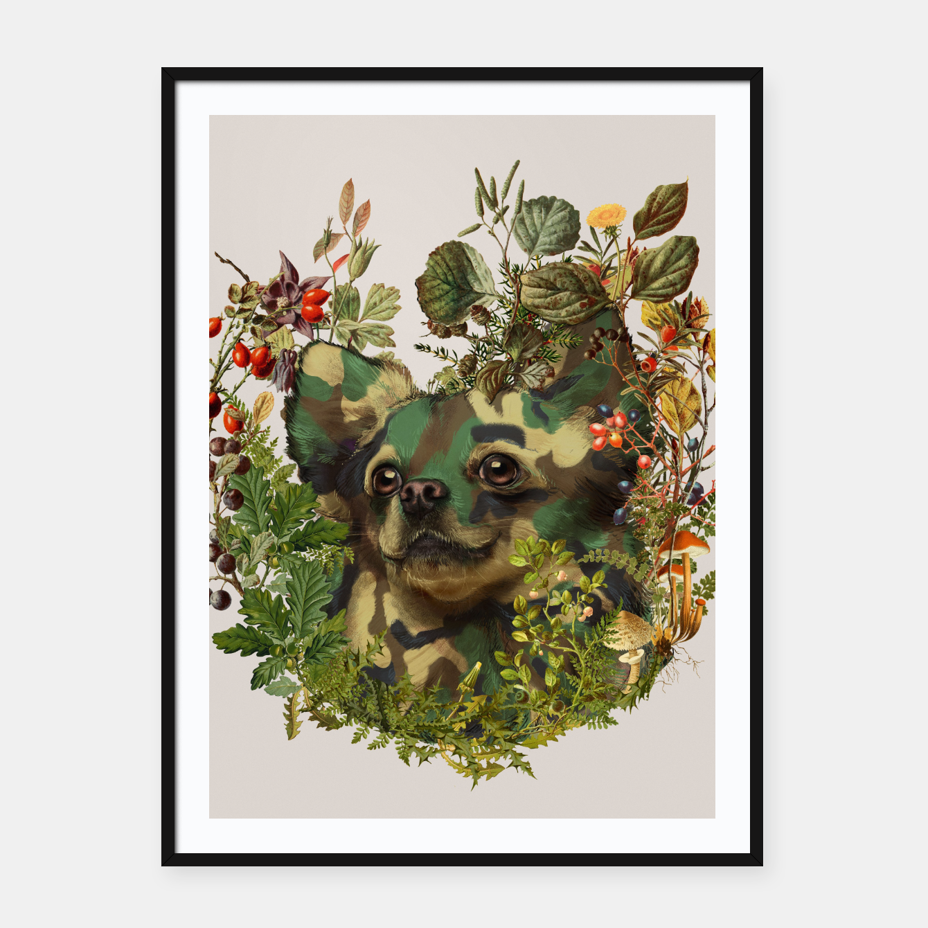 Image of Camo Chihuahua Forest Adventure Framed poster - Live Heroes