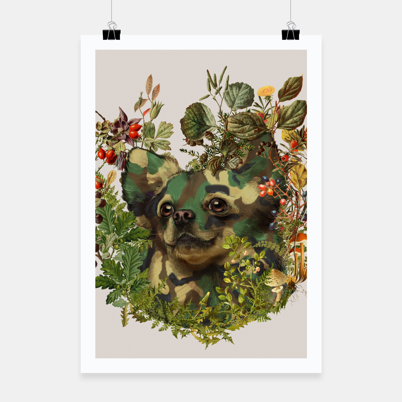 Image of Camo Chihuahua Forest Adventure Poster - Live Heroes