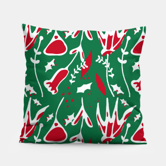 Thumbnail image of winter floral green Pillow, Live Heroes