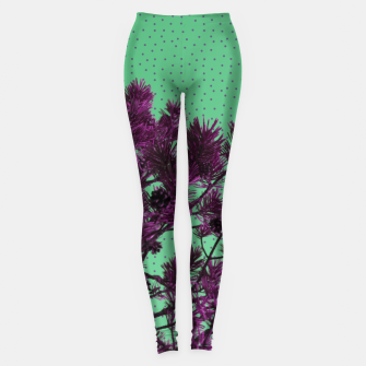 Pine tree and purple polka dots Leggings imagen en miniatura
