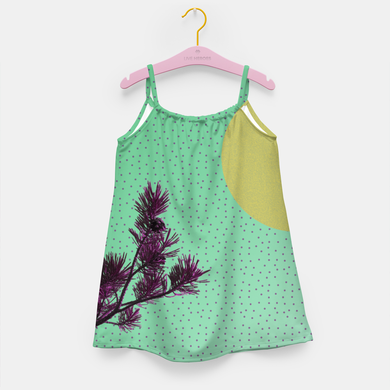 Imagen de Pine tree and purple polka dots Girl's Dress - Live Heroes