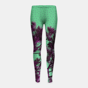 Pine tree and purple polka dots Girl's Leggings imagen en miniatura