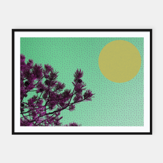Pine tree and purple polka dots Framed poster imagen en miniatura