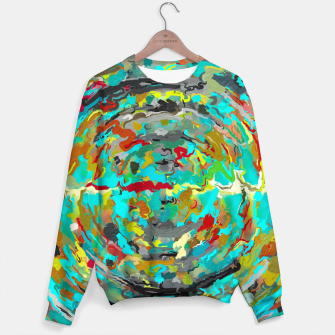 Thumbnail image of psychedelic circle pattern painting abstract background in green blue yellow brown Sweater, Live Heroes