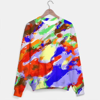 Thumbnail image of camouflage pattern painting abstract background in red blue green yellow brown purple Sweater, Live Heroes