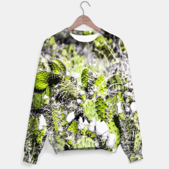 Thumbnail image of texture of the green cactus with white flower in the desert  Sweater, Live Heroes