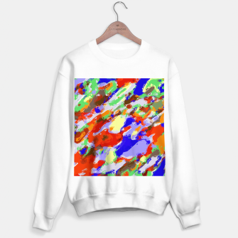 Thumbnail image of camouflage pattern painting abstract background in red blue green yellow brown purple Sweater regular, Live Heroes