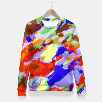 Thumbnail image of camouflage pattern painting abstract background in red blue green yellow brown purple Fitted Waist Sweater, Live Heroes