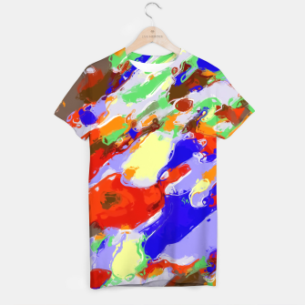 Thumbnail image of camouflage pattern painting abstract background in red blue green yellow brown purple T-shirt, Live Heroes