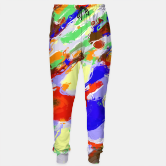 Thumbnail image of camouflage pattern painting abstract background in red blue green yellow brown purple Sweatpants, Live Heroes