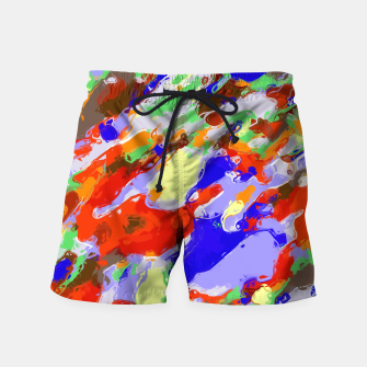 Thumbnail image of camouflage pattern painting abstract background in red blue green yellow brown purple Swim Shorts, Live Heroes