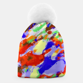 Thumbnail image of camouflage pattern painting abstract background in red blue green yellow brown purple Beanie, Live Heroes