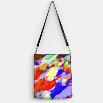 Thumbnail image of camouflage pattern painting abstract background in red blue green yellow brown purple Handbag, Live Heroes