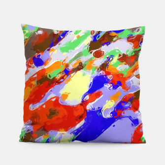 Thumbnail image of camouflage pattern painting abstract background in red blue green yellow brown purple Pillow, Live Heroes