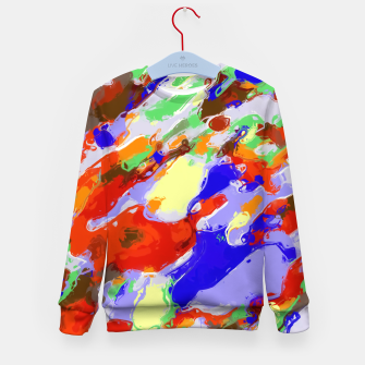 Thumbnail image of camouflage pattern painting abstract background in red blue green yellow brown purple Kid's Sweater, Live Heroes