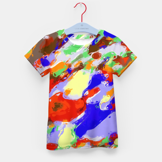 Thumbnail image of camouflage pattern painting abstract background in red blue green yellow brown purple Kid's T-shirt, Live Heroes