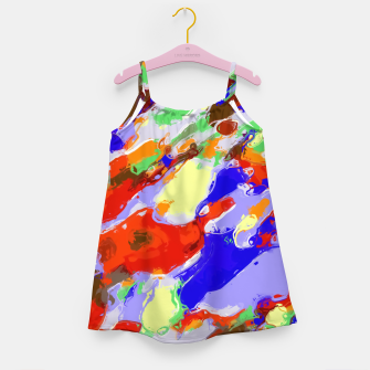 Thumbnail image of camouflage pattern painting abstract background in red blue green yellow brown purple Girl's Dress, Live Heroes