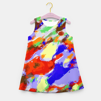 Thumbnail image of camouflage pattern painting abstract background in red blue green yellow brown purple Girl's Summer Dress, Live Heroes