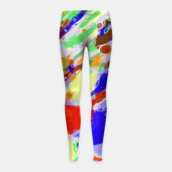 Thumbnail image of camouflage pattern painting abstract background in red blue green yellow brown purple Girl's Leggings, Live Heroes