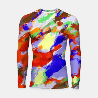 Thumbnail image of camouflage pattern painting abstract background in red blue green yellow brown purple Longsleeve Rashguard , Live Heroes