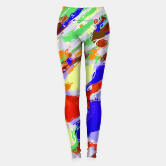 Thumbnail image of camouflage pattern painting abstract background in red blue green yellow brown purple Leggings, Live Heroes