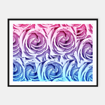 Thumbnail image of closeup pink rose and blue rose texture pattern abstract background Framed poster, Live Heroes