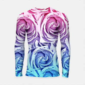 Thumbnail image of closeup pink rose and blue rose texture pattern abstract background Longsleeve Rashguard , Live Heroes