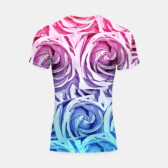 Thumbnail image of closeup pink rose and blue rose texture pattern abstract background Shortsleeve Rashguard, Live Heroes