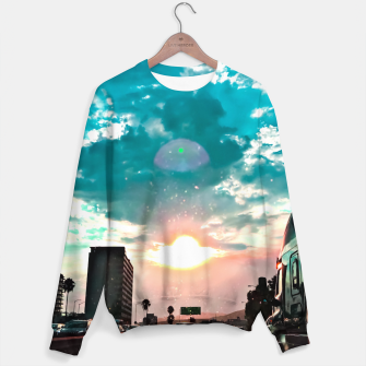 Thumbnail image of urban road with beautiful cloudy summer sunset sky Sweater, Live Heroes