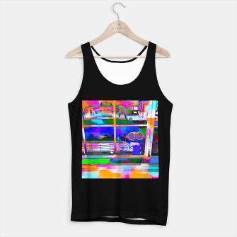 Thumbnail image of blue classic taxi car with painting abstract in green pink orange  blue Tank Top regular, Live Heroes