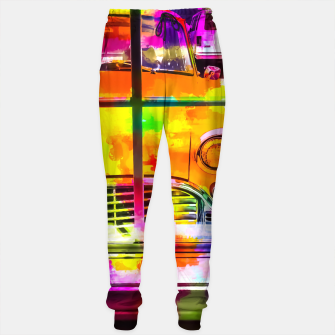 Thumbnail image of yellow classic taxi car with colorful painting abstract in pink orange green Sweatpants, Live Heroes