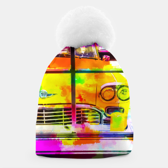 Thumbnail image of yellow classic taxi car with colorful painting abstract in pink orange green Beanie, Live Heroes