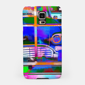 Thumbnail image of blue classic taxi car with painting abstract in green pink orange  blue Samsung Case, Live Heroes