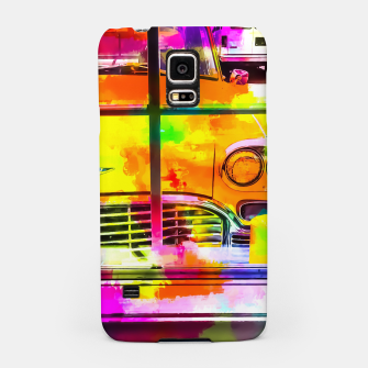 Thumbnail image of yellow classic taxi car with colorful painting abstract in pink orange green Samsung Case, Live Heroes