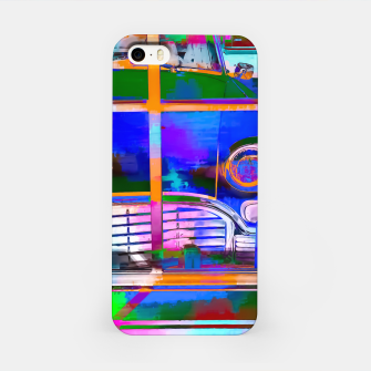 Thumbnail image of blue classic taxi car with painting abstract in green pink orange  blue iPhone Case, Live Heroes