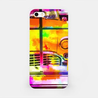 Thumbnail image of yellow classic taxi car with colorful painting abstract in pink orange green iPhone Case, Live Heroes