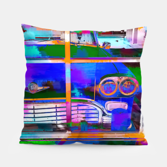 Thumbnail image of blue classic taxi car with painting abstract in green pink orange  blue Pillow, Live Heroes