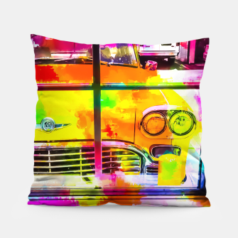 Thumbnail image of yellow classic taxi car with colorful painting abstract in pink orange green Pillow, Live Heroes