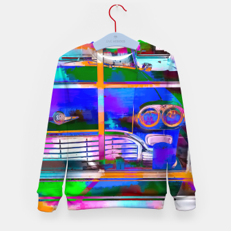 Thumbnail image of blue classic taxi car with painting abstract in green pink orange  blue Kid's Sweater, Live Heroes